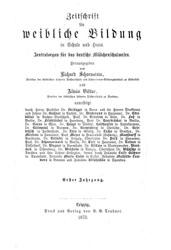"""Cover """"Zeitschrift für weibliche Bildung"""""""