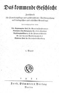 """Cover """"Das kommende         Geschlecht"""""""